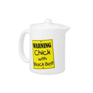 Warning Chick with Black Belt Teapot