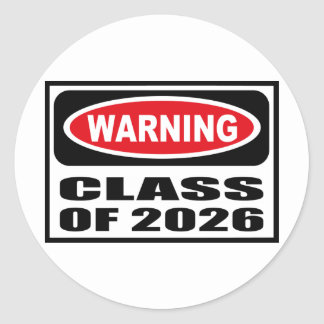 Warning CLASS OF 2026 Sticker