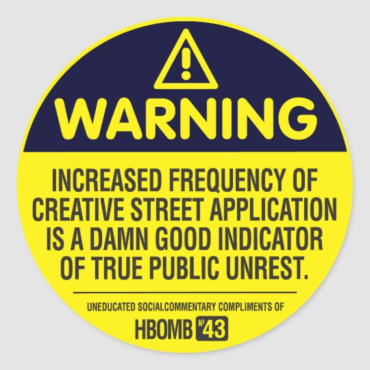 Warning Classic Round Sticker