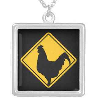Warning; Cocky! Silver Plated Necklace