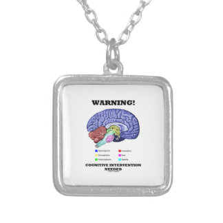 Warning! Cognitive Intervention Needed Silver Plated Necklace