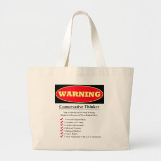 Warning: Conservative Thinker Large Tote Bag
