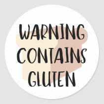 Warning Contains Gluten Celiac Wheat Allergy Alert Classic Round Sticker