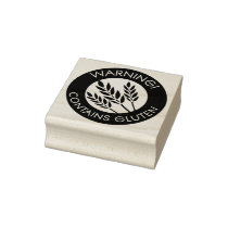 Warning Contains Gluten Celiac Wheat Allergy Rubber Stamp
