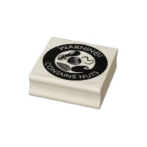 Warning Contains Nuts Allergen Tree Nut Peanut Rubber Stamp