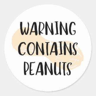 Warning Contains Peanuts Allergen Label Peanut Classic Round Sticker