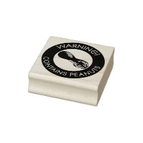 Warning Contains Peanuts Allergen Peanut Symbol Rubber Stamp