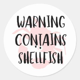 Warning Contains Shellfish Fish Allergen Crab Classic Round Sticker