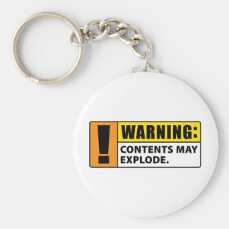 Warning Contents May Explode Basic Round Button Keychain