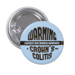 Warning! Contents May Increase Awareness - Blue 1 Inch Round Button