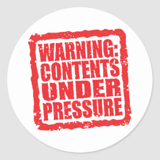 Warning: Contents Under Pressure stamp Classic Round Sticker