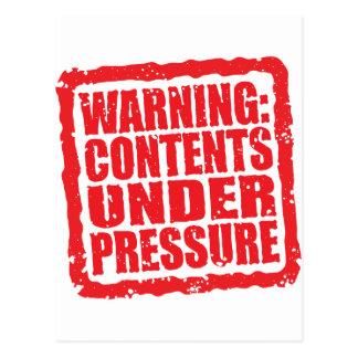 Warning: Contents Under Pressure stamp Postcard