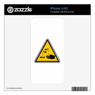 Warning Corrosive Sign Skins For The iPhone 4S