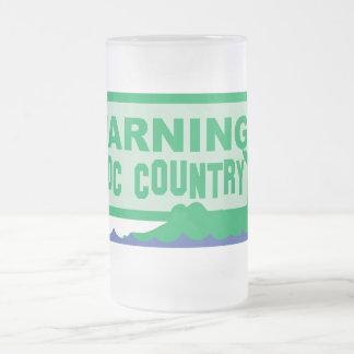 WARNING croc country! crocodile design 16 Oz Frosted Glass Beer Mug