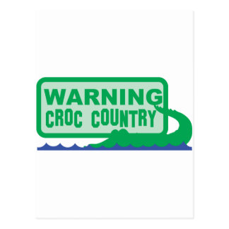 WARNING croc country! crocodile design Postcard