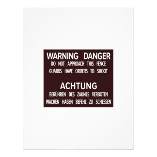 Warning Danger Achtung, Berlin Wall, Germany Sign Custom Letterhead