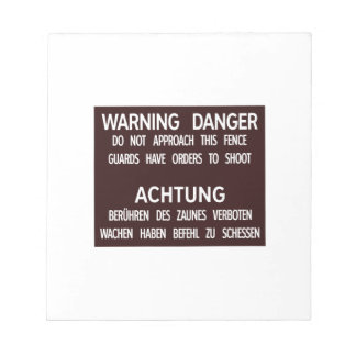 Warning Danger Achtung, Berlin Wall, Germany Sign Memo Pads