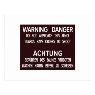 Warning Danger Achtung, Berlin Wall, Germany Sign Postcard