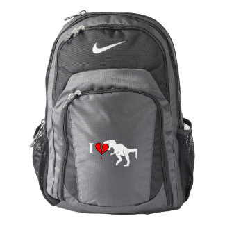 Warning! dinosaur eats heart nike backpack