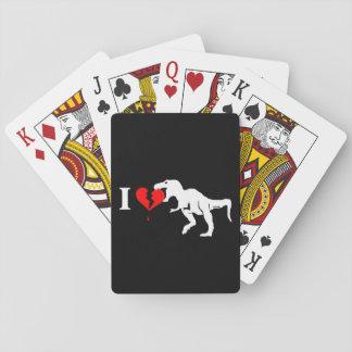 Warning! dinosaur eats heart playing cards