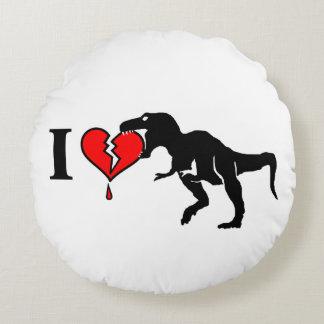 Warning! dinosaur eats heart round pillow