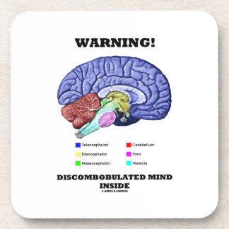 Warning! Discombobulated Mind Inside (Brain Humor) Beverage Coaster
