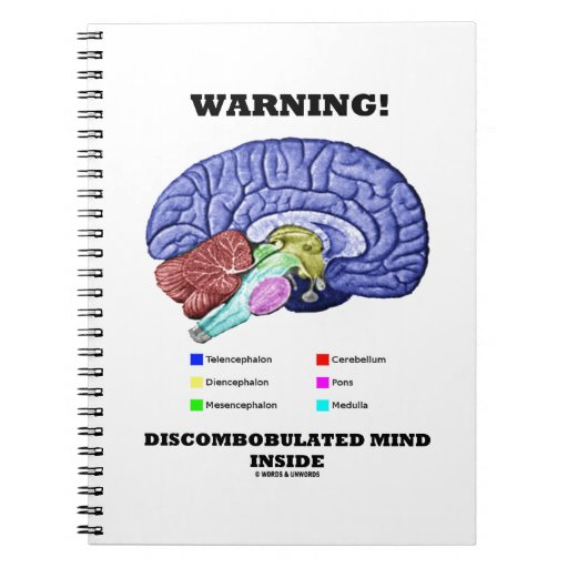 Warning! Discombobulated Mind Inside (Brain Humor) Note Book