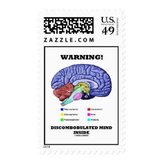 Warning! Discombobulated Mind Inside (Brain Humor) Stamp