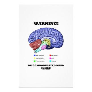 Warning! Discombobulated Mind Inside (Brain Humor) Stationery