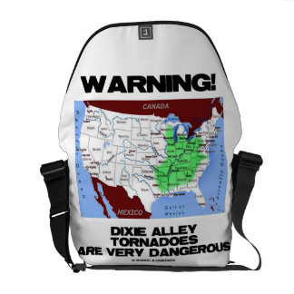 Warning! Dixie Alley Tornadoes Are Very Dangerous Courier Bag