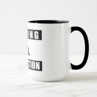 warning dj in action cup mug djing