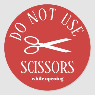 Warning Do Not Use Scissors Round Classic Round Sticker