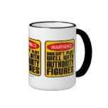 Warning: Doesn't Play Well With Authority Figures Ringer Coffee Mug