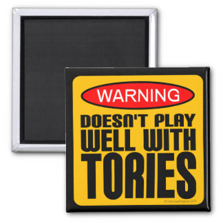 Warning: Doesn't Play Well With Tories 2 Inch Square Magnet