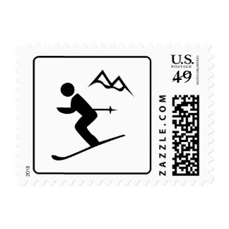 Warning: Downhill Skiing Sign Sports Stamp