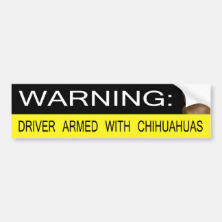 Warning: Driver Armed With Chihuahuas Car Bumper Sticker