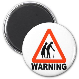 Warning - Elderly Crossing 2 Inch Round Magnet