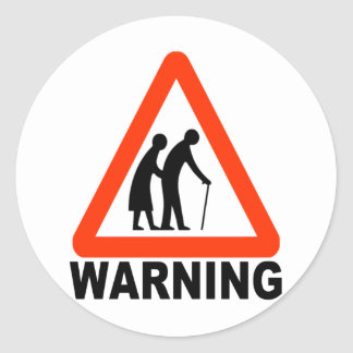 Warning - Elderly Crossing Classic Round Sticker