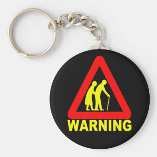 Warning - Elderly Crossing Keychain
