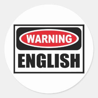 Warning ENGLISH Sticker