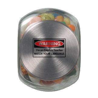 Warning English Teacher Glass Jars