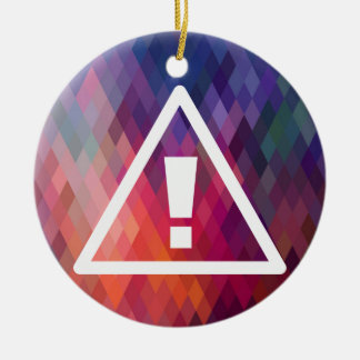 Warning Exclamations Pictogram Double-Sided Ceramic Round Christmas Ornament