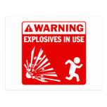 Warning! Explosives in Use Postcard