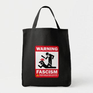 Warning: Fascism Grocery Tote Bag