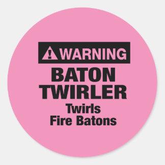 Warning Fire Batons Classic Round Sticker
