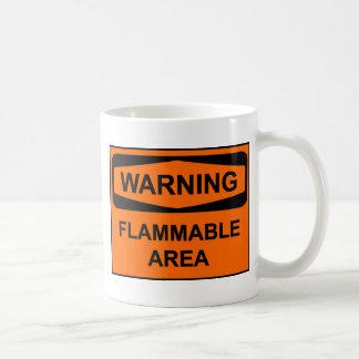 Warning flammable areawrning coffee mug