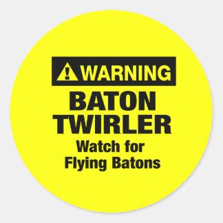 Warning Flying Batons Classic Round Sticker