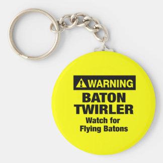 Warning Flying Batons Keychain