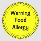 Warning  Food   Allergy Classic Round Sticker