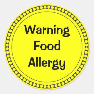 Warning  Food   Allergy Classic Round Sticker